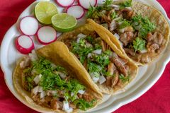 Carnitas Tacos. Tacos made with pork meat onions, cilantro, lemon and radish royalty free stock photos