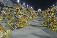 Carnival 2018 – Viradouro. RIO DE JANEIRO, RJ /BRAZIL - FEBRUARY 13, 2018: Samba School parade in Sambodromo. Beija-Flor de Nilópolis during festival at royalty free stock images