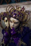Carnival. Woman in full decorative carnival costume in Venice