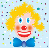 Carnival. A blond clown with carnival background Royalty Free Stock Photo