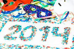 Carnival 2014 masks streamers confetti closeup Stock Images