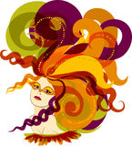 Carnival. Woman with feathers on the head, in a carnival mask, illustration Stock Images