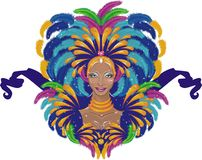 Carnival. Beautiful carnival girl  in traditional clothes vector illustration Royalty Free Stock Photography