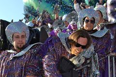 Carnival. People in masks for carnival. The shot was taken in Italy during the carnival of Viareggio stock image