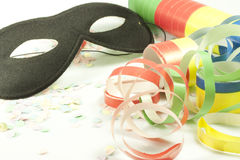 Carnival. Colored streamers and colorful confetti Royalty Free Stock Photos