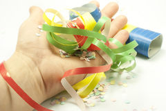 Carnival. Colored streamers and colorful confetti Stock Photo