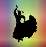 Carnival 3. Silhouette of woman in carnival costume on colourful background Stock Images