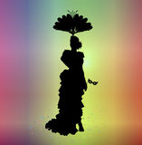 Carnival 4. Silhouette of woman in carnival costume on colourful background Royalty Free Stock Photo