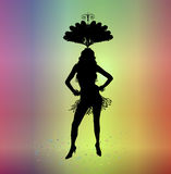 Carnival 5. Silhouette of woman in carnival costume on colourful background Royalty Free Stock Images