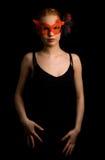 Carnival. Lady in red carnival mask Stock Image