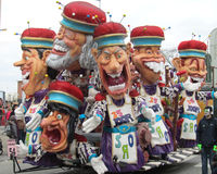 Carnival Aalst, Belgium, 2014. AALST, BELGIUM, MARCH 03 2014: A trailer full of colorful caricatures, during the annual carnival parade in Aalst, which is a Stock Image