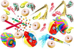Carnival. Adobos carnival with donuts with sugar on white background Royalty Free Stock Photography