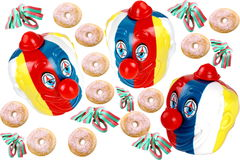 Carnival. Adobos carnival with donuts with sugar on white background Stock Photography
