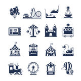 Carnival in amusement park with carousel and circus. Attractions vector icons Royalty Free Stock Photos
