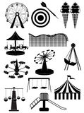 Carnival amusement park icons set Stock Photos