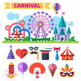 Carnival in amusement park. Vector flat icon set and illustrations. Carnival in amusement park. Laughter, smiles, children, sweets. landscape with a Ferris wheel Royalty Free Stock Photos