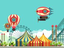 Carnival Amusement Park. Vector illustration carnival circus tent on the nature seating area amusement park stock illustration