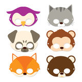Carnival Animal Masks. Cute Animal Children Masks for carnival flat color style Stock Photography