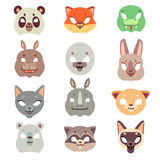 Carnival animals face vector masks in flat style Royalty Free Stock Photos