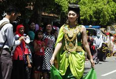 Carnival anniversary celebration Nganjuk 2015. Nganjuk, East Java, Indonesia. 12/04/2015: One of the participants of the carnival to commemorate the anniversary stock image