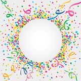 Carnival around the world. White background of carnival with many confetti and streamers Stock Photos
