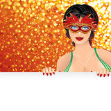 Carnival Background. Festive Carnival Background with Beauty Girl Wearing a Carnival Mask , vector illustration for your text and design Royalty Free Stock Image