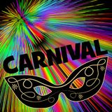 Carnival background with black eye mask on rainbow patterns. Vector EPS 10 Royalty Free Stock Images