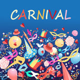 Carnival background. Bright colorful carnival items on a blue background vector illustration