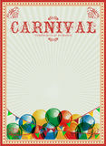 Carnival background. Colorful balloons. Circus. Vintage poster. Invitation. Billboard. Festive poster. Poster in vintage style. Circus. Hand drawing. Retro card Stock Images