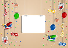 Carnival background. Colorful carnival background with funny clear icons Stock Photography