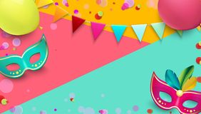 Carnival background with colorful masks, balloons and confetti. Bright carnival background with colorful masks, balloons, flags and confetti. Vector Stock Photos