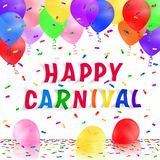 Carnival background with colorful realistic balloons and confetti. Greeting card. Royalty Free Stock Photos