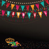 Carnival background with crown jester hat and flags. 