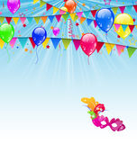 Carnival background with flags, confetti, balloons Royalty Free Stock Images