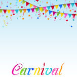 Carnival background with flags, confetti, text Stock Photos