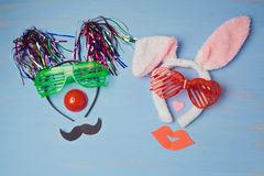 Carnival  background with funny party costumes. Stock Images