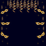 Carnival background with golden masks, streamers and stars. Dark blue color Stock Photo