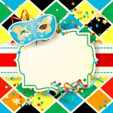 Carnival background with label and mask Stock Photo