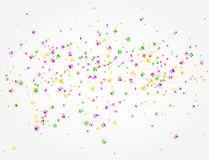 Carnival background with many confetti in the middle. Many confetti of Carnival party in the middle on white background Stock Image