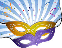 Carnival background. Carnival mask on a blue background with rays. EPS 10 Royalty Free Stock Photos