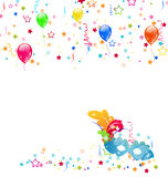 Carnival background with mask, confetti, balloons Stock Image