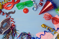 Carnival  background with mask, costume and glasses. View from above Stock Photo