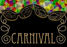 Carnival background, mask decorated with gold ornament, overlapping colored lights in top, golden antique inscription.  Royalty Free Stock Image