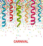 Carnival Background with Set Colorful Paper. Illustration Carnival Background with Set Colorful Paper Serpentine and Confetti - Vector Royalty Free Stock Images