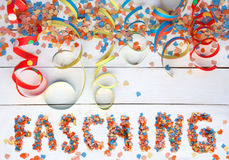 Carnival background with text and streamers Stock Images