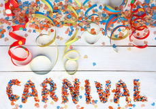 Carnival background with text and streamers Stock Image