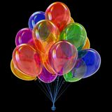 Carnival balloons party bunch colorful. happy birthday decoration. Multicolored. 3d illustration. isolated on black Stock Photos