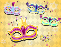 Carnival banner with flat sticker icons set. Vector illustration. Masquerade Concept. Royalty Free Stock Photography