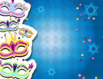 Carnival banner with flat sticker icons set. Vector illustration. Masquerade Concept. Stock Photography