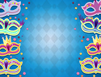 Carnival banner with flat sticker icons set. Vector illustration. Masquerade Concept. Royalty Free Stock Images